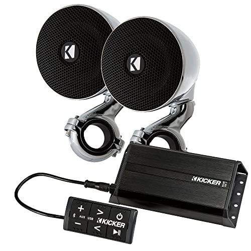 Kicker PXiBT1002 BT control with 100-watt amp and 40PSM32 handlebar speakers 2 Ohm