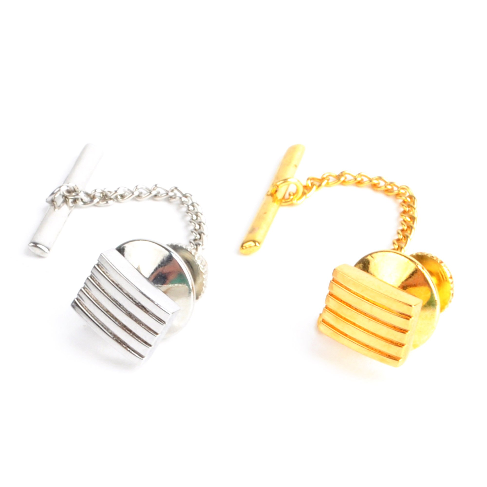 Striated Textured Squares Tie Tack Set for Men-2 Pack