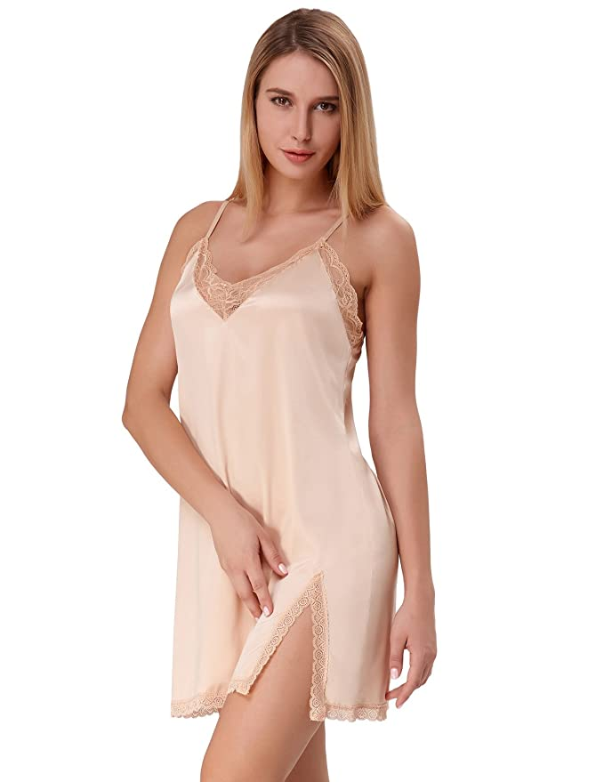 Zexxxy Mujer Camisón Ropa Interior de Dormir Cuello V Encaje Pijama: Amazon.es: Ropa y accesorios
