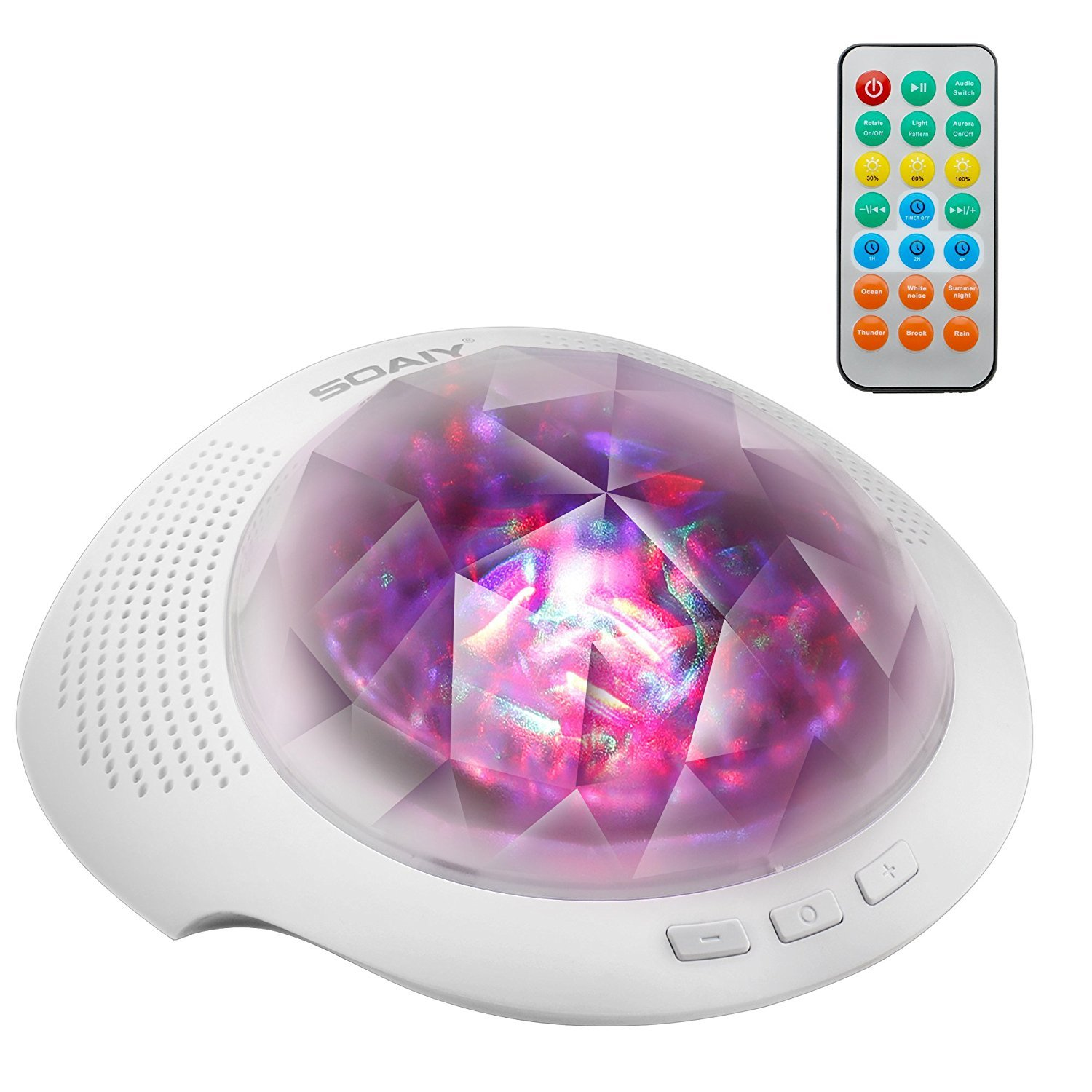 SOAIY Sleep Sound Machine & Northern Light Projector with Bluetooth, Remote, Timer, White