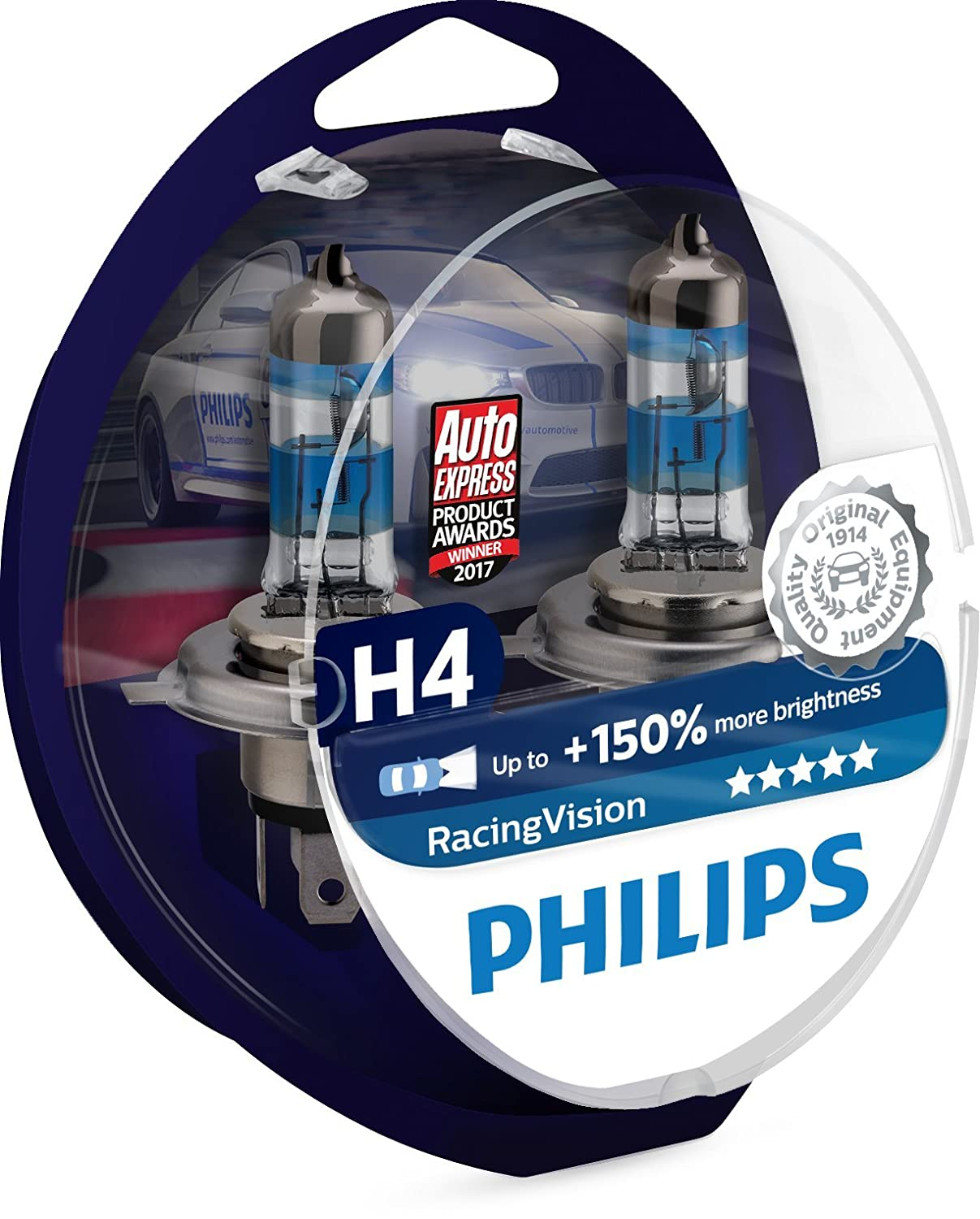Philips RacingVision H4 Headlight Bulbs (Twin) 12342RVS2 Xtreme Vision  Upgrade