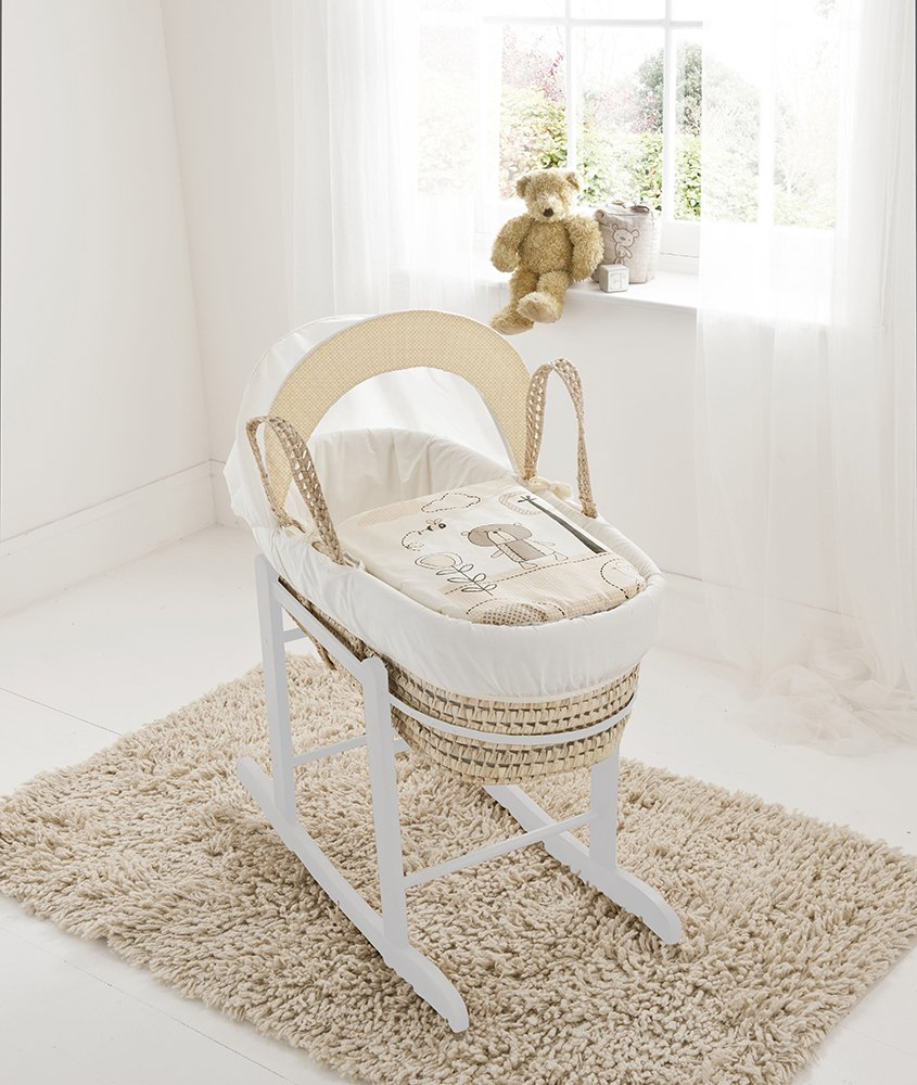 Beary Nice Cream Palm Moses Basket & Deluxe White Rocking Stand Elegant Baby