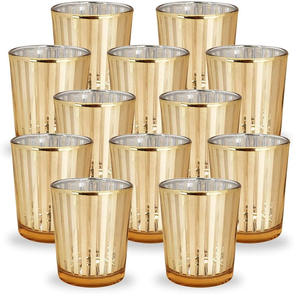 Just Artifacts Glass Votive Candle Holders 2.75-Inch Striped Gold (Set of 12) - Glass Votive Candle Holders for Weddings and Home Décor