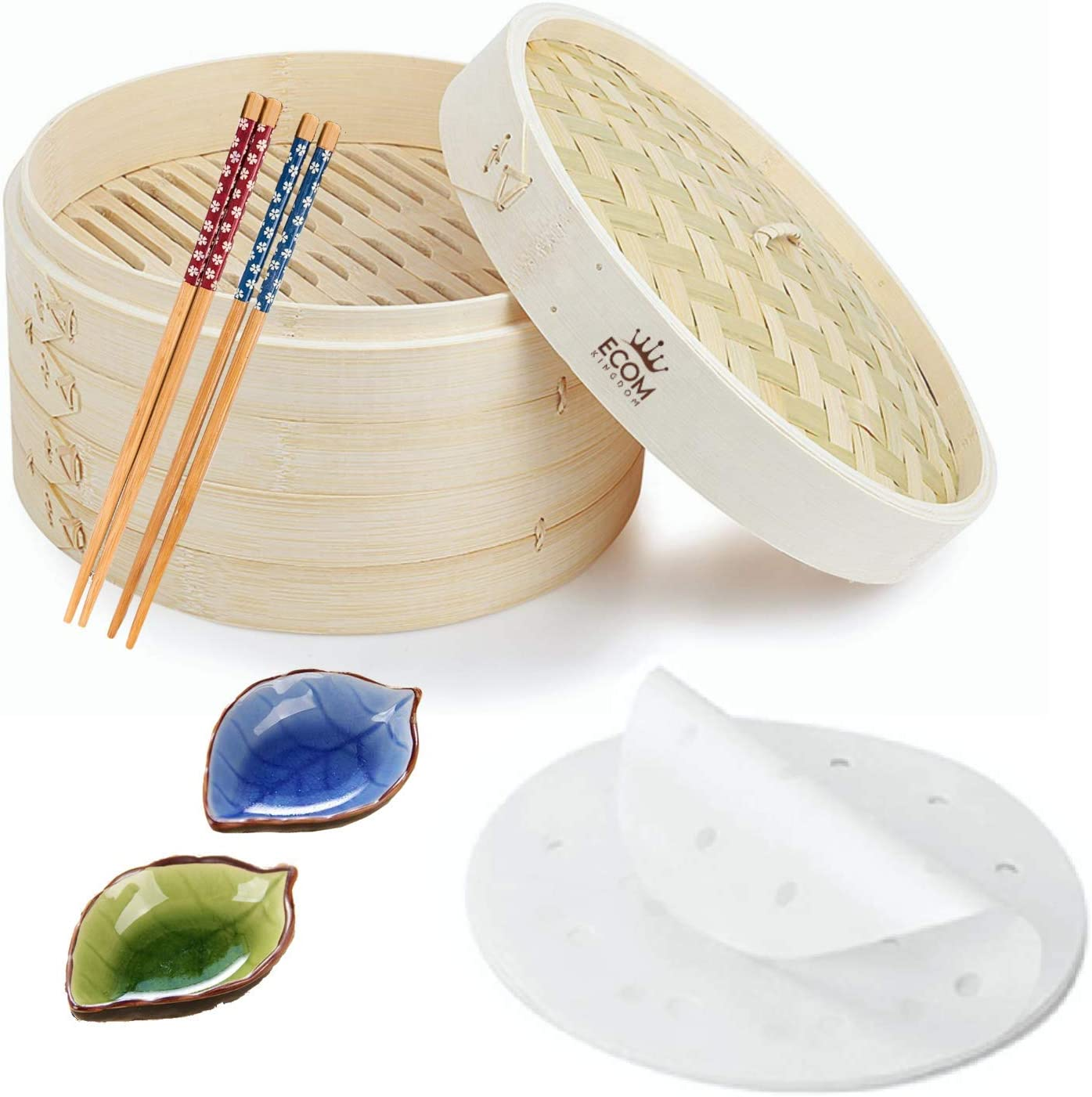 EcomKingdom 10-Inch Bamboo Steamer Basket Set-2 Tier Handmade Steamer, Perfect for Dumpling Steaming Vegies, Meat, Fish, Chinese & Japanese Food, Contain 2 x Chopsticks, 2 x Sauce Dish, 30 x Wax paper
