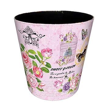 Amazon De Mecotech Papierkorb Kinder Madchen Mit Blumen