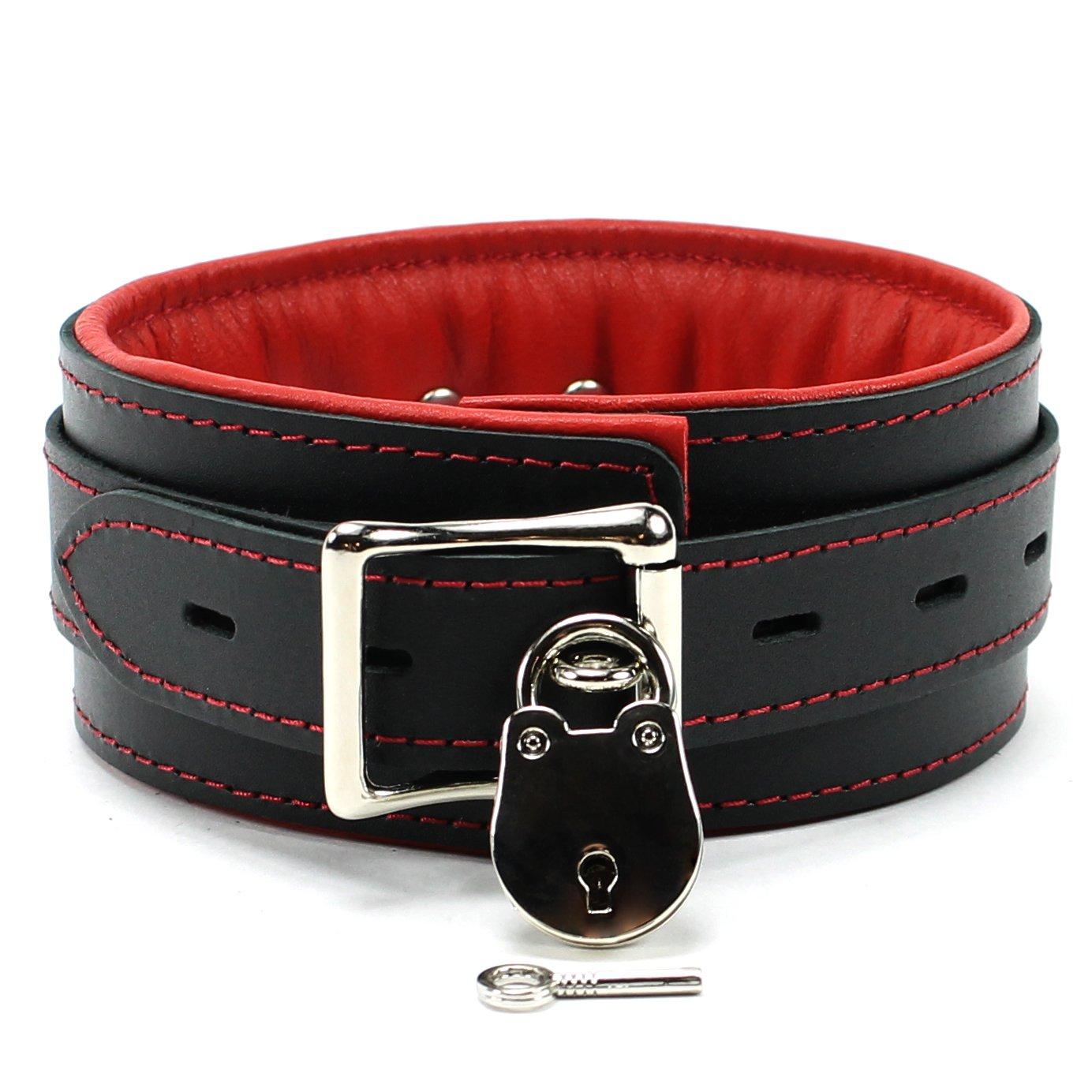 Mandrake Lockable Collar Premium Genuine Leather Sub Cosplay Neck Choker Handmade In USA (Red)