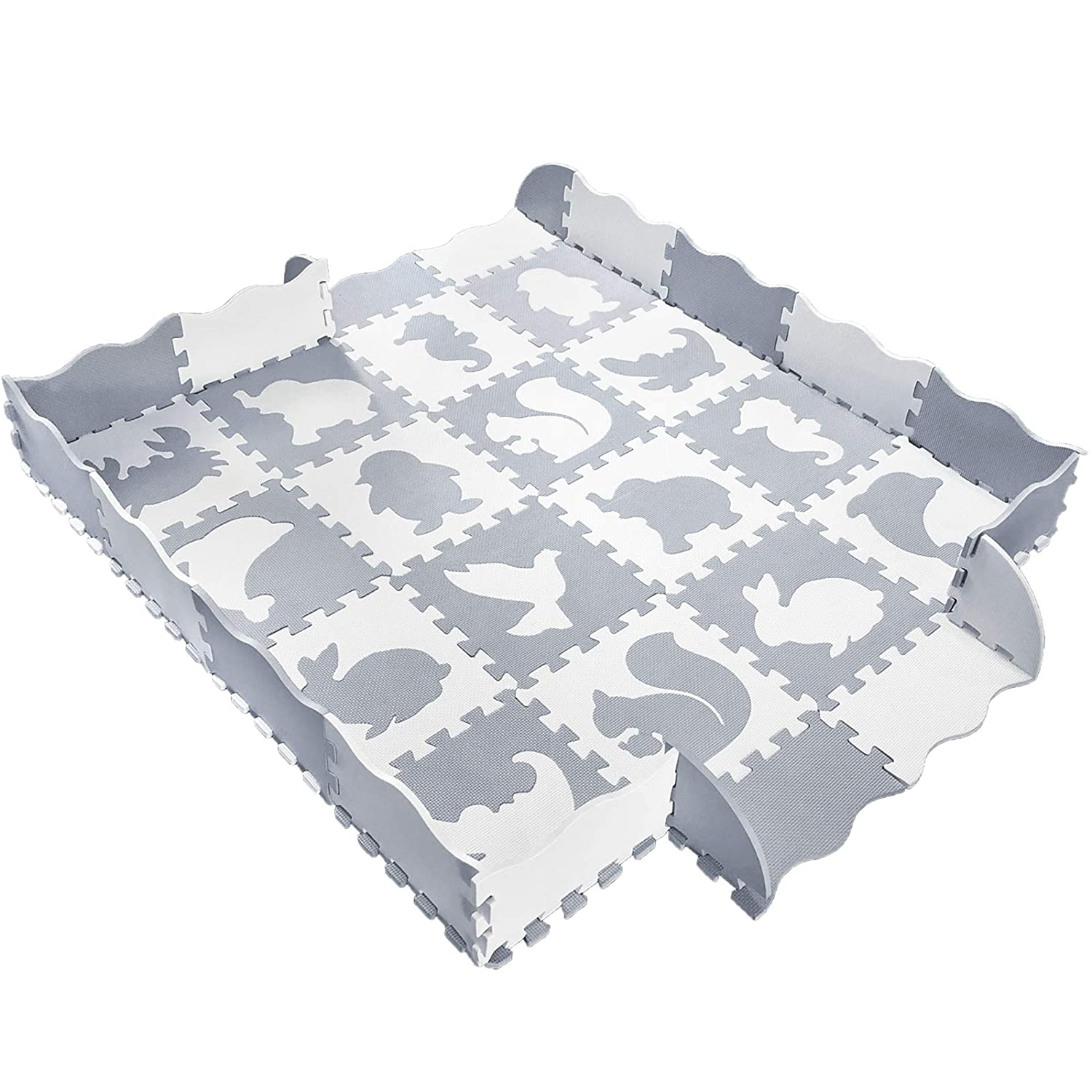 Baby Play Mat with Fence, Animals, and Foam Tiles. Tummy time mat, Playmat for Kids, Toddlers, Infants. Activity Center, Ball Pit Gym Floor playpen. 57'x 57', Over 74' Across!