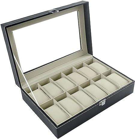 Feibrand - Caja Relojes, Estuche/Guarda Relojes, Hombre, para 12 ...