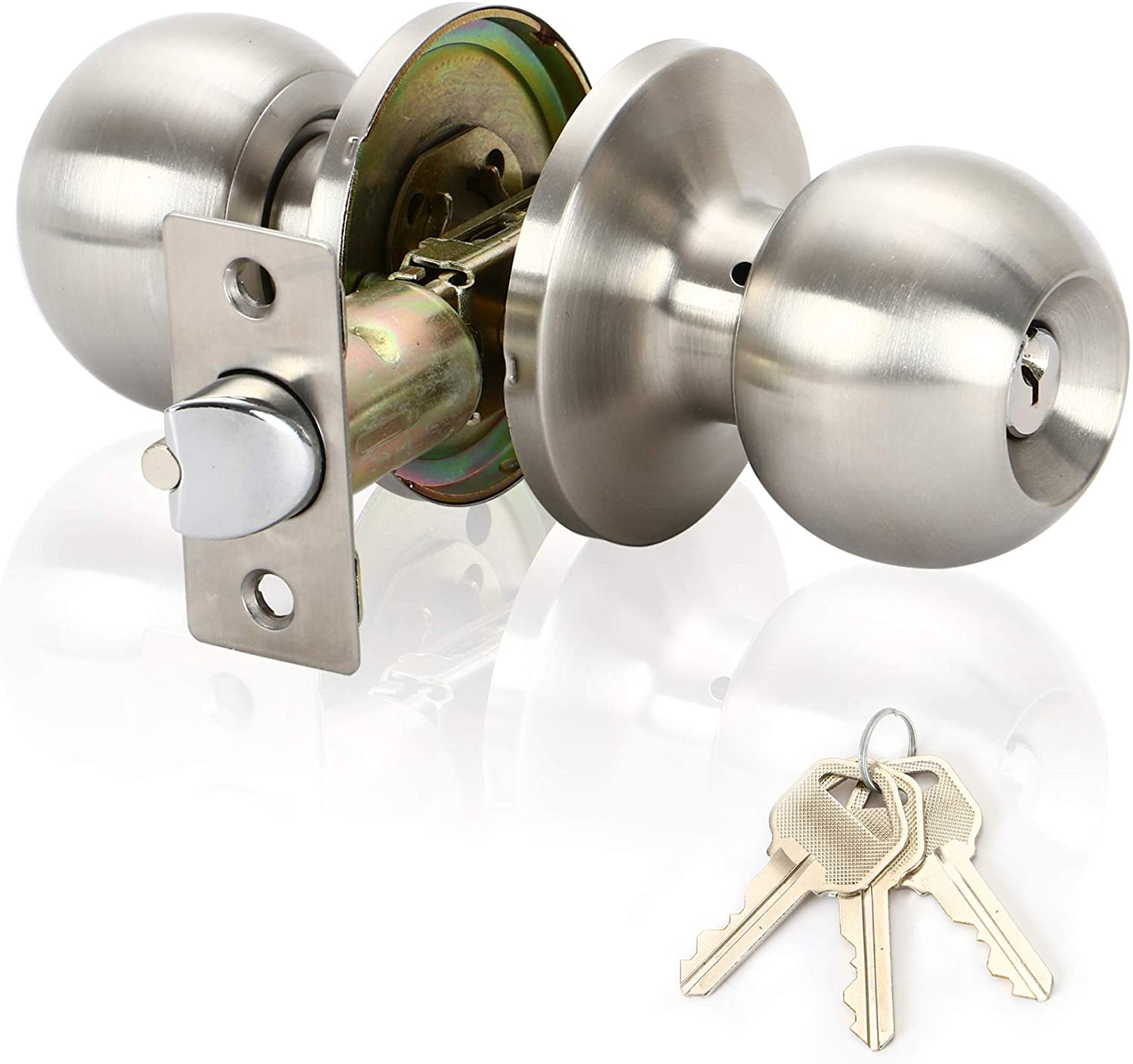 Keyed Entry Door Lock& Ball Door knobs with Lock and Key Entrance Lever Door Handle (Privacy/Passage) in Satin Stainless Stee