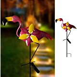 "Hannah's Cottage 27.7"" Flamingo Decorative Garden Stake, Solar Lighted Pathway Lights Decorations for Garden, Patio, Backyard, Outdoor Paradise (Pink)"
