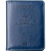LELETVN PU Leather Passport Holder -RFID Blocking Passport Wallet for Men & Women - Australia Passport Cover Case (Blue)