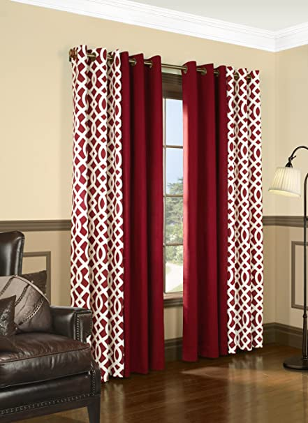Trellis Thermalogic Red 80quot X 95quot Grommet Top Curtains