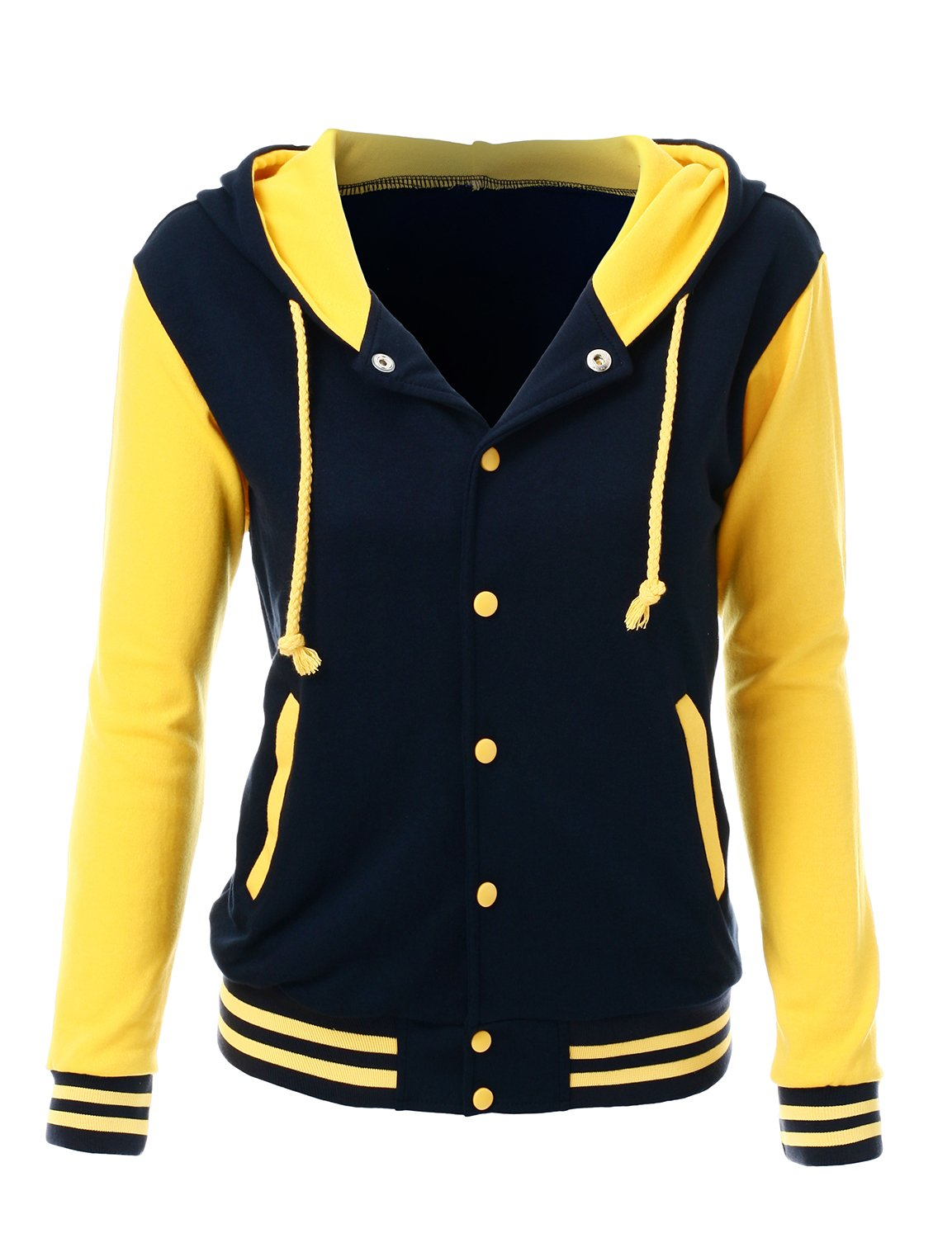 Stylish Color Contrast Long Sleeves Hoodie Varsity Jacket Navy Yellow 3XL by Xpril