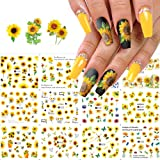 Sunflower Nail Art Stickers Floral Flower Nail Decals Water Transfer Nail Stickers Small Daisy Flowers Designs Nail Tattoo St