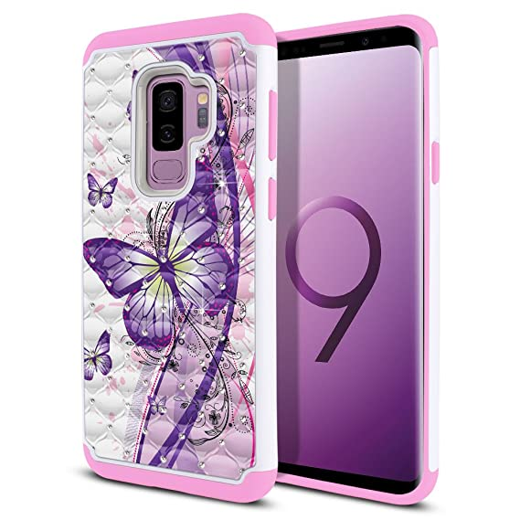 the best attitude b6c26 ea712 FINCIBO Case Compatible with Samsung Galaxy S9 Plus (6.2 inch) Hybrid, Dual  Layer Hybrid Hard Protective Cover TPU Rhinestone Bling for Galaxy S9 Plus  ...