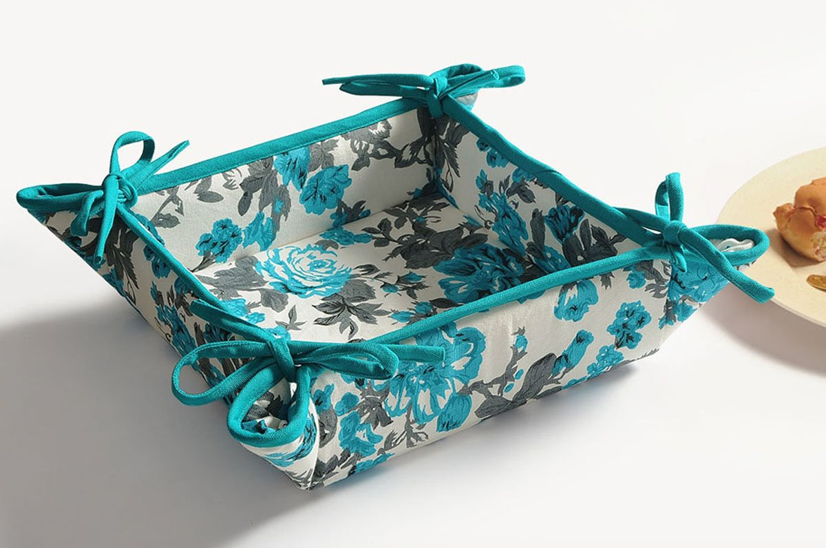 YUGA Floral Printed Teal Blue Kitchen Accessories Square 100% Cotton Bread Basket