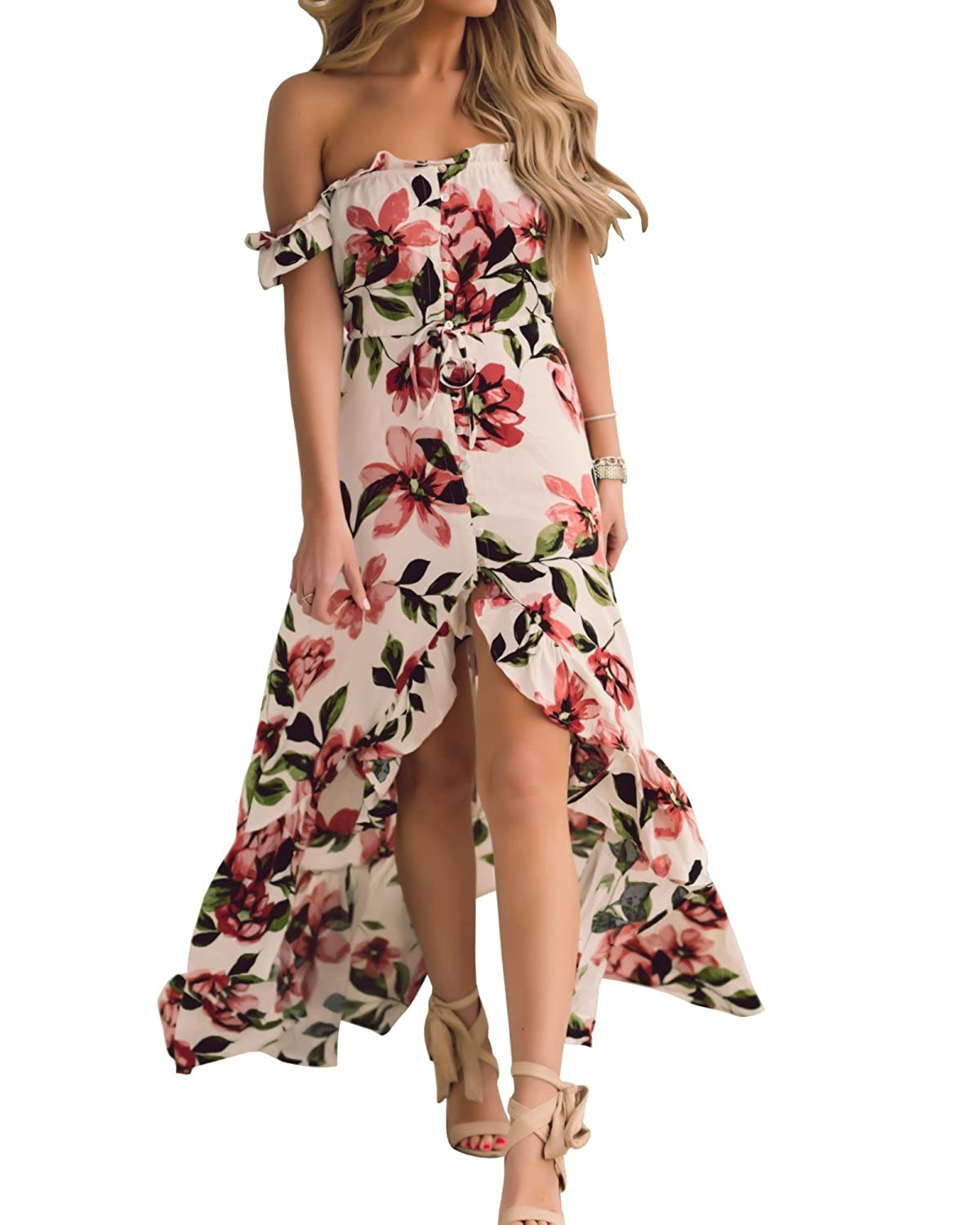 a2597b37fd0 Jeanewpole1 Womens Off the Shoulder Floral Maxi Dress Short sleeve High Slit  Chiffon Long Dress ❀Gender:Women ❀Style:Fashion, Sexy