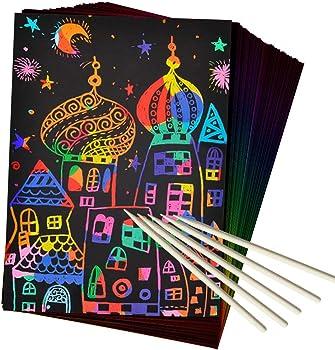 50-Piece ZMLM Magic Scratch Art Set Paper for Kids