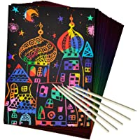ZMLM Scratch Art Set, 50 Piece Rainbow Magic Scratch Paper for Kids Black Scratch Off Art Crafts Notes Boards Sheet with 5 Wooden Stylus for Easter Party GameChristmas Birthday Gift