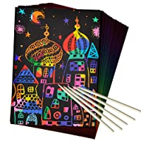 ZMLM Scratch Paper Art Set, 50 Piece Rainbow Magic Scratch Paper for Kids Black...