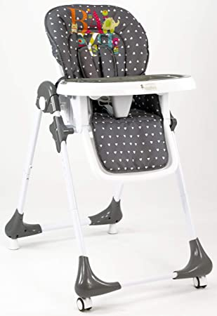 Fox Haute Avec Roulettes Gris Collection Baby' Baby Chaise 'smooth DEYH92IW
