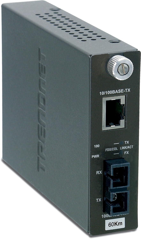 TRENDnet 100Base-TX to 100Base-FX Single Mode SC Fiber Converter (60 Km, 37.3 Miles), TFC-110S60