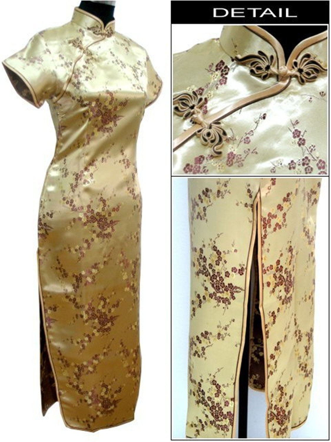 Thytas Black Traditional Chinese Clothing Women's Satin Long Cheongsam Qipao Dress Flower Gold M