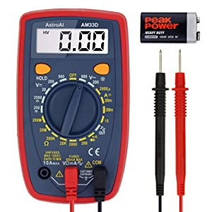 AstroAI Digital Multimeter with Ohm Volt Amp and Diode Voltage Tester Meter (Intelligent Anti-burn)