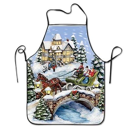 Unisex cocina delantales de campanas de Navidad Musical Chef delantal delantal barbacoa delantales
