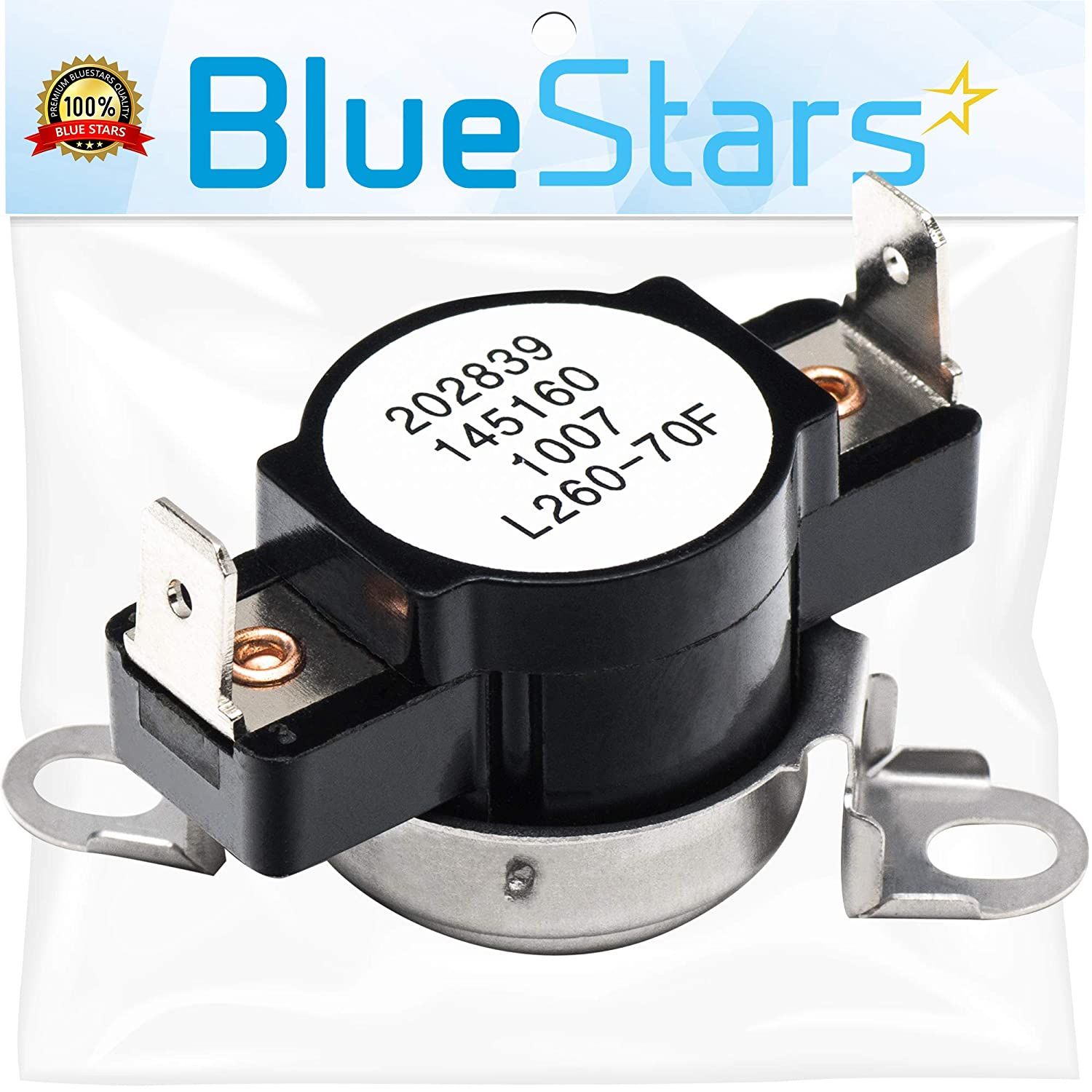 3204267 Safety Thermostat Replacement Part by Blue Stars- Exact Fit for Frigidaire Kenmore Electrolux Dryer- Replaces 508516 73204267 AP213147