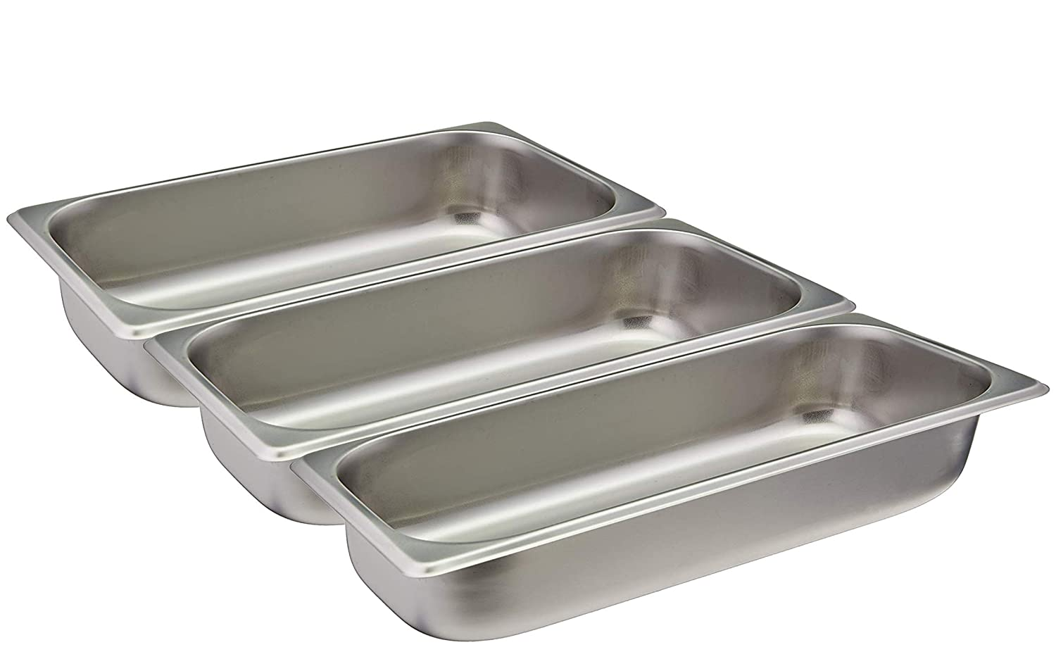 Tiger Chef 3-Pack 2.5-inch Deep, 1/3 Size Stainless Steel Steam Table Chafer Pans, Hotels, Restaurant, Pan (3, Third Size Pans)