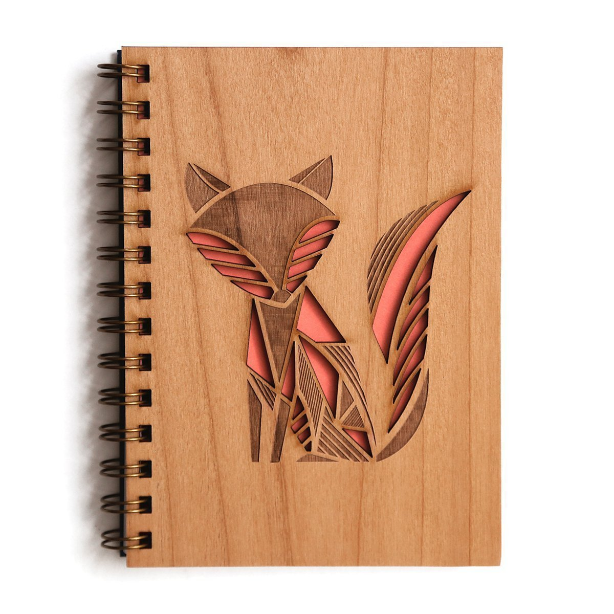 Fox Laser Cut Wood Journal (Notebook/Birthday Gift/Gratitude Journal/Handmade)