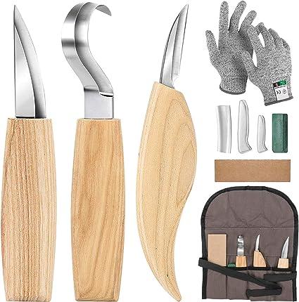Ensemble d/'outils de sculpture sur bois Ensemble de couteaux pour couteaux...