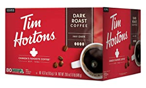 Tim Hortons Dark Roast Coffee, Single-Serve K-Cup Pods for Keurig Brewers, Recyclable, 80 Count