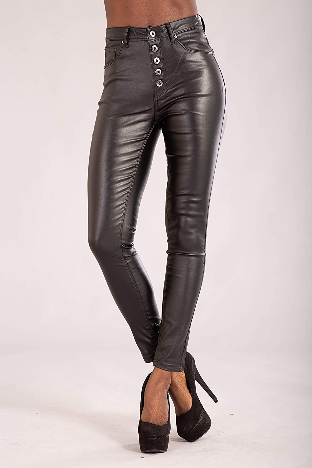 a5a92c3b40bb Glook Womens Leather Look Trousers High Waist Slim Fit Skinny Butt Lifting Black  Jeans: Amazon.co.uk: Clothing