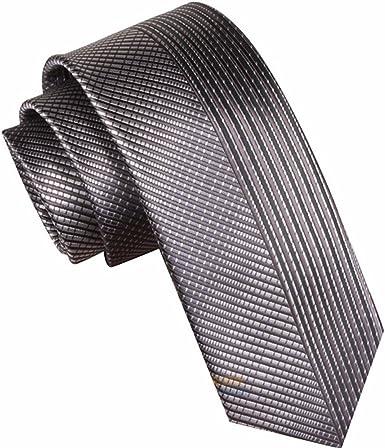 HXCMAN 7cm gris Plateado Retazos rayas corbata Diseño clásico ...