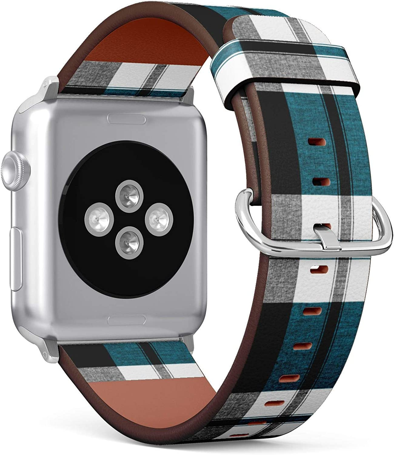 ( Traditional checkered fabric texture tartan plaid pattern )Patterned Leather Wristband Strap for Apple Watch Series 4/3/2/1 gen ,Replacement for iWatch 38mm / 40mm bands
