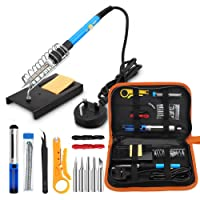 Soldering Iron Kit Electronics, 60W 110V Adjustable Temperature Welding Tool, 5pcs Soldering Tips, Desoldering Pump, Soldering Iron Stand with Carrying Case