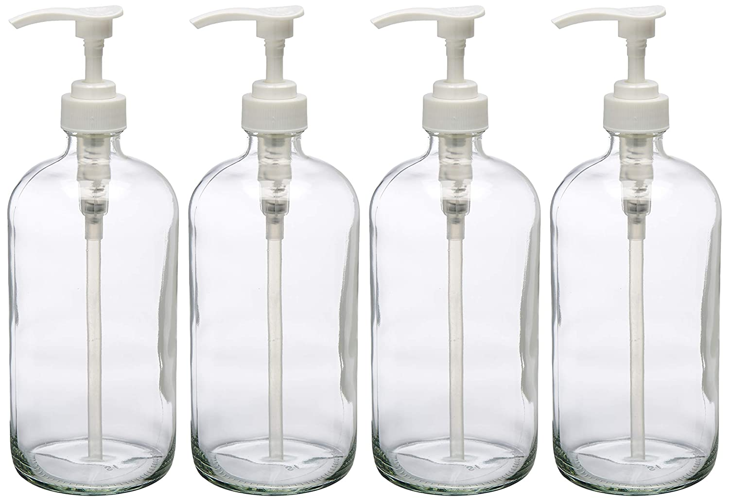 32 Ounce Large Clear Glass Boston Round Bottles with White Pumps. Great for Lotions, Soaps, Oils, Sauces and DIY Laundry Detergent - Food Safe and Medical Grade - by kitchentoolz (Pack of 4)