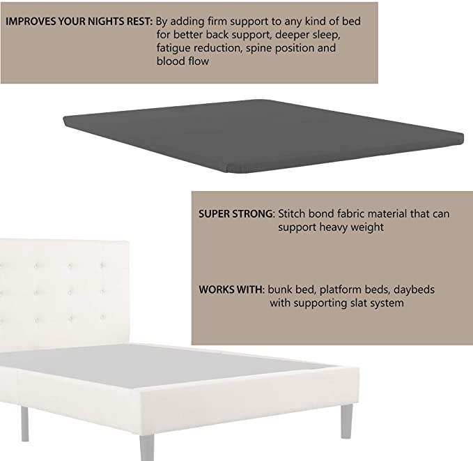 Nutan Fully Assembled Bunkie Board for Mattress//Bed Support Beige Twin