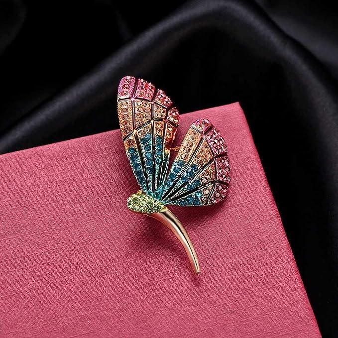 PRENKIN Elegante Doppio Lati Farfalla con Strass di Cristallo Spilla Pins Insetto colorato Breastpins Abbigliamento Decor