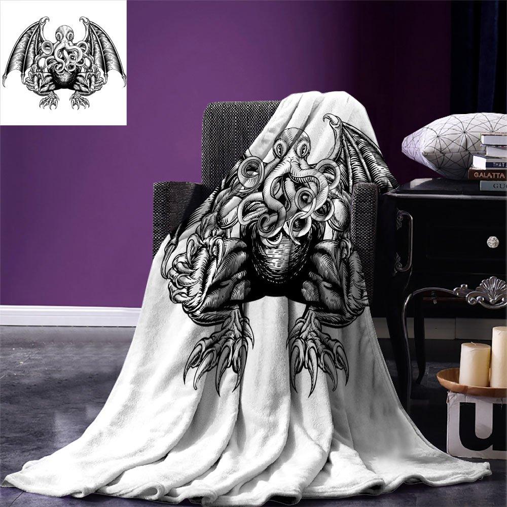 smallbeefly Kraken Digital Printing Blanket Cthulhu Monster Evil Fictional Cosmic Monster in Woodblock Style Illustration Print Summer Quilt Comforter Black White