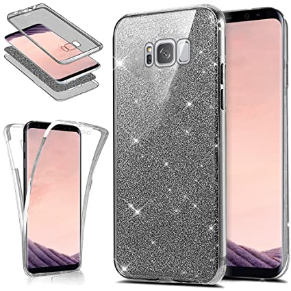 Galaxy S8 Case,[Full-Body 360 Coverage Protective] Crystal Clear Ultra-Slim Sparkly Shiny Glitter Bling Front Back Full Coverage Soft Clear TPU ...
