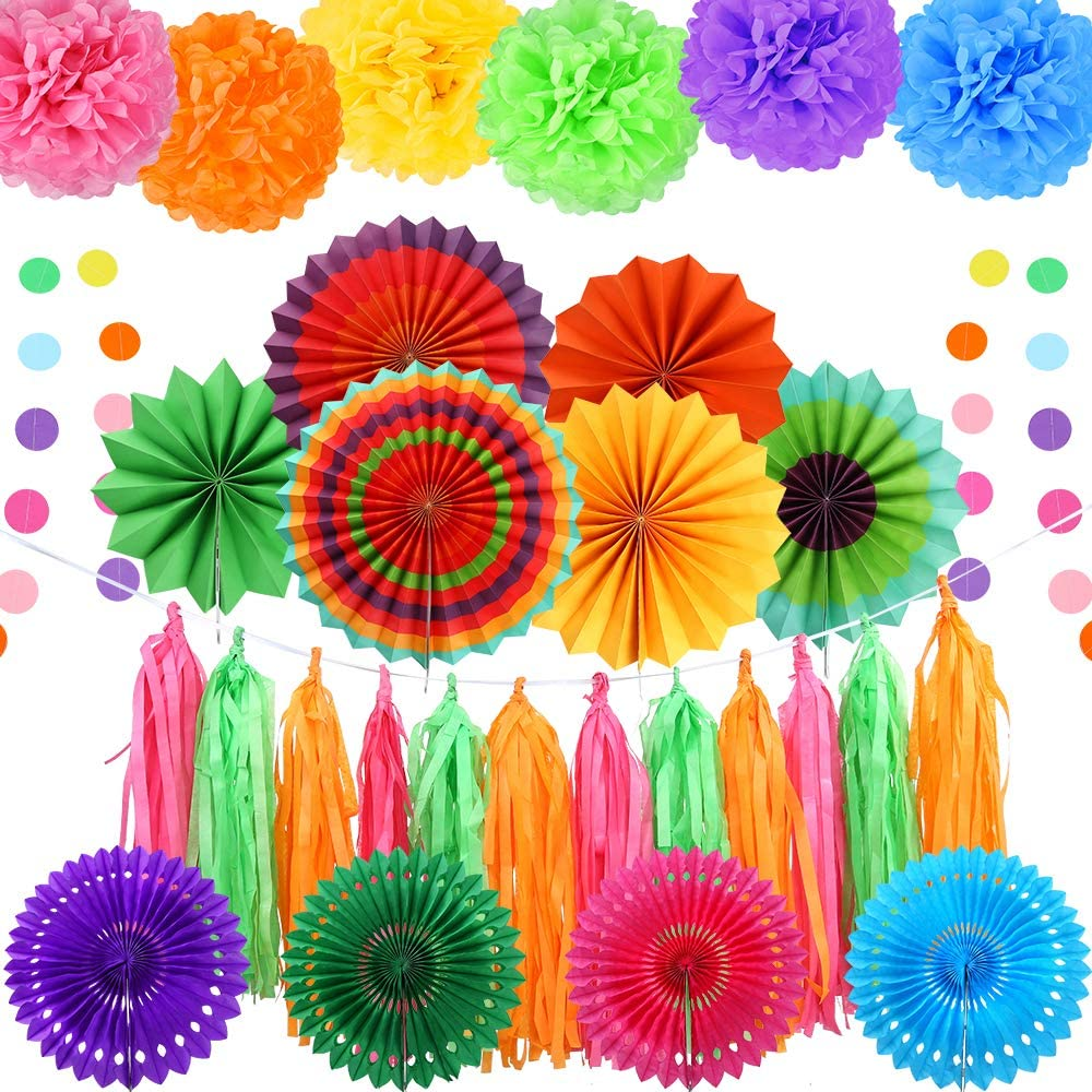 Auihiay 32 Pieces Fiesta Party Decoration Include Paper Fans, Tissue Paper Pom Poms, Circle Dot Garland and Tissue Paper Tassel for Birthday Parties, Wedding Décor, Taco Party or Mexican Party