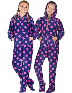 7fb8a729fa Amazon.com  PajamaGram Big Girls  Hoodie-Footie Fleece Onesie ...