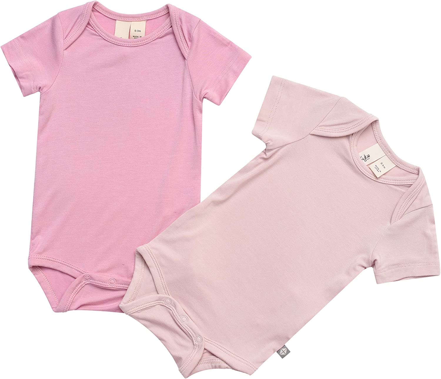KYTE BABY Bodysuit 2-Pack Short Sleeve Baby Bodysuits Made from Bamboo Rayon Material Unisex Bodysuits