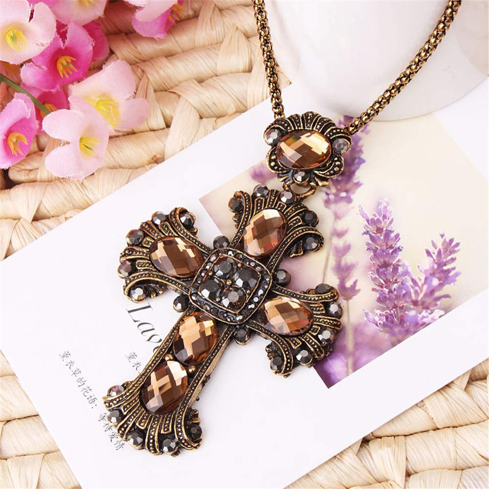QTMY Vintage Diamond Cross Pendant Long Necklace for Women Jewelry 3