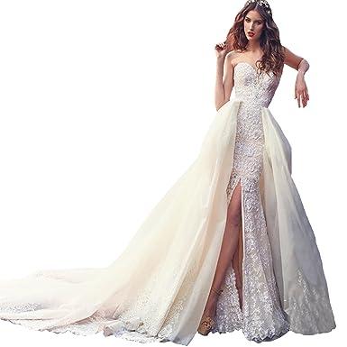 Fair Lady Ball Gown Detachable Train Mermaid Wedding Dresses 2018 ...