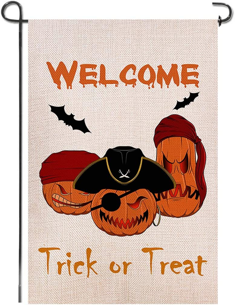 Shmbada Welcome Halloween Pirate Burlap Garden Flag, Double Sided Premium Material, Trick or Treat Decor Outdoor Fall Banner Decorative Small Flags for Yard Lawn Patio Farmhouse, 12.5 x 18.5 inch