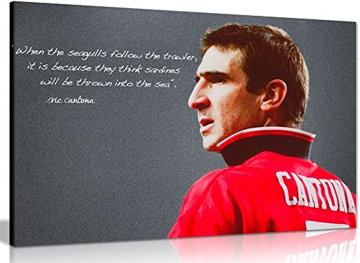 Eric Cantona Manchester United Sardines Quote Canvas Wall Art Picture Print 36x24in